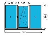 Металлопластиковое окно 2050х1400 мм