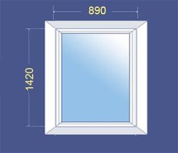 Пластиковое окно ПВХ  со стеклопакетом 890x1420 (Одностворчатое)