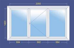 Пластиковое окно ПВХ  со стеклопакетом 2050x1420 (Трехстворчатое)