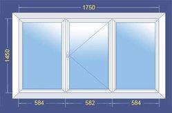 Пластиковое окно ПВХ  со стеклопакетом 1750x1450 (Трехстворчатое)